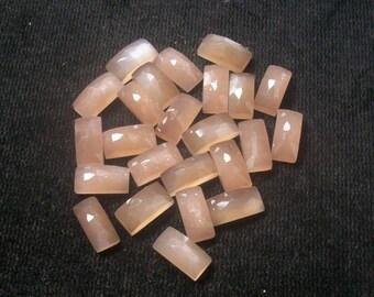 5x10mm PEACH MOONSTONE Rosecut Rectangular Gemstone Peach Moonstone Rectangular Rose cut flat gemstone.....