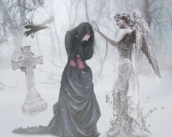 Gothic Victorian woman in graveyard with stone Angel art print