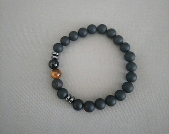 20cm Tiger eye and Onyx braclet