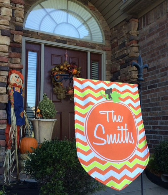 Monogrammed Candy Corn Chevron Pumpkin Halloween Garden Flag