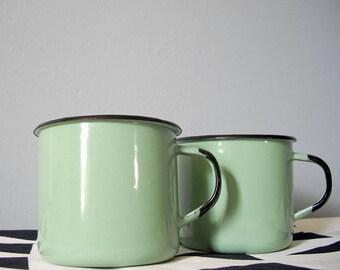 Vintage enamel cup pair in mint aqua - set of two mugs - midcentury enamelware