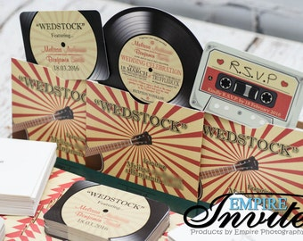 vinyl record invitations, music themed wedding invitations, retro wedding invitations | Handmade in Canada by -- www.empireinvites.ca --