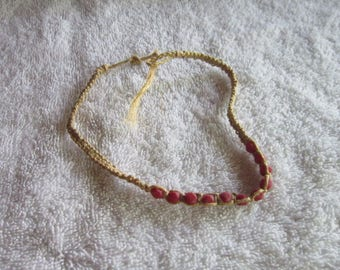 Retro 60's Macrame with Coral Stone Choker Necklace Hippy