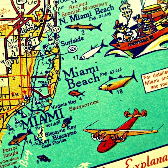 Miami Map art Retro MIAMI BEACH photograph vintage Florida