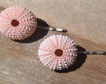 Pink Sea Urchin Hair Pins,  Beach Accessories, Wedding Hair Pins | 2 Piece Set