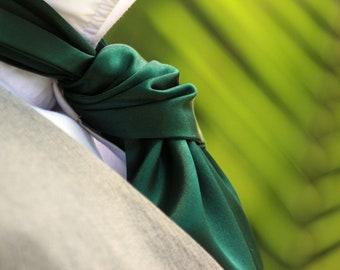 Men's Emerald Green Cravat Ascot Mens Tie Wedding Day Cravat Ascot Mens Tie