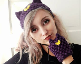 sailor moon, fingerless gloves, headband, crochet, knit, luna, artemis, anime, sailor moon cosplay, kawaii, cat ears, cat ears headband