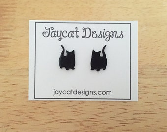 Munchkin Cat Earrings, Munchkin Silhouette Earrings, Munchkin Earrings, Cat Stud Earrings