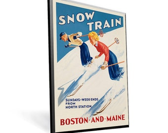 Vintage Travel Poster Reprint Boston and Maine 8x12 PopMount Ready to Hang FREE SHIPPING