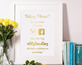Wedding Hashtag Sign 8x10 5x7 4x6