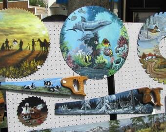CUSTOM Hand painted  SAWS, saw blades,cross cuts, 2man saws,lumberjack saws,old car saw,painted deer saw,