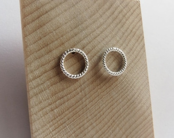Braided Circular Rope Studs in Sterling Silver. Sterling Silver Rope Stud Earrings. Minimalist Sterling Silver Studs. Delicate rope studs.