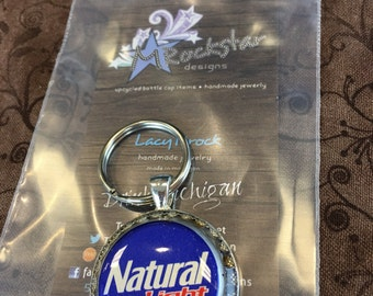 Natural light upcycled keychain, natty light, beer, beer gift, custom, handmade