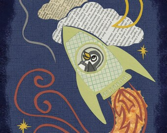 Penguin Rocket, giclee print