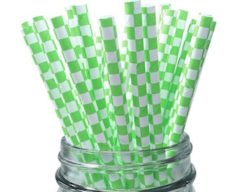 Green Checkered 25pc Paper Straws