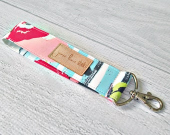 Floral Key Fob | Pink Flowers and Aqua Stripe Wrist Key Lanyard