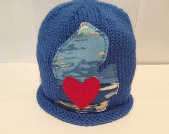 "Hand Knit ""I Love Michigan"" Hat Size 2 Years Soft Acrylic Yarn at NeedlesandPinsShop"