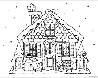 GINGERBREAD HOUSE COLORING Christmas Download