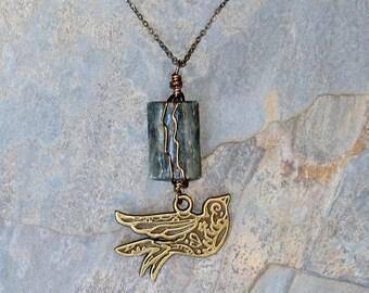 Reversible Bird Necklace, Kyanite Necklace, Long Blue Necklace, 2 in 1 Bohemian Bird Necklace, Natural Stone Necklace, Brass Necklace
