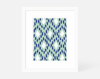 Minimalist Modern Art Blue / Large Abstract Artwork / Vertical Art Print / Matted and Framed / 18x24 16x20 11x14 8x10 5x7
