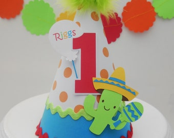 Fiesta Time - Cinco de Mayo - Birthday Party Hat - Personalized