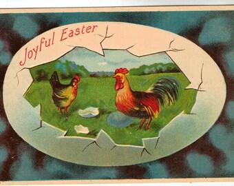 Vintage Easter Postcard, Joyful Easter, Rooster and Chicken in Broken Egg, 1911