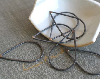 large oxidized copper teardrop links- teardrop connectors, copper teardrop, copper drop, teardrop link, oxidized findings, blackened copper
