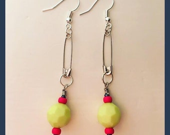 Faceted Safety Pin Earrings - White or Lime