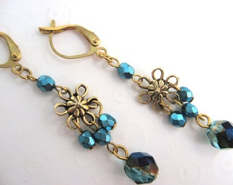 Flower Earrings Teal and Gold Antique Finish, Fancy Flower Earrings, Aqua and Gold, Classic Drop Earrings, Bohemian Style, Boho Jewelry