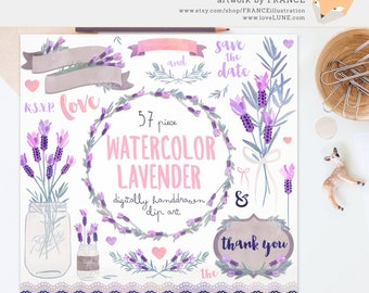 3 FOR 2. Lavender Clipart. Watercolor. Wreaths, Banners. Watercolour Flowers. Digitally Handdrawn Clipart. Romance Wedding. Purple, Border.