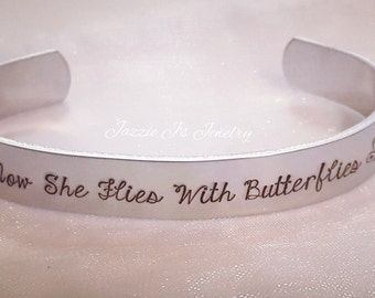 Hand Stamped Jewelry, Now She Flies With Butterflies Cuff Bracelet, Loss Of A Loved One Gift, Memorial Gift, Remembrace Gift, Butterfly Cuff