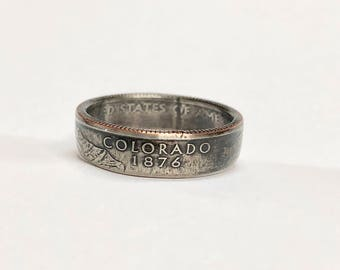 Colorado - Coin Ring - Coin Jewelry - Quarter Rings - Gift for - State Wedding Ring - Husband - Wife - State Quarter Ring - Anniversary Gift