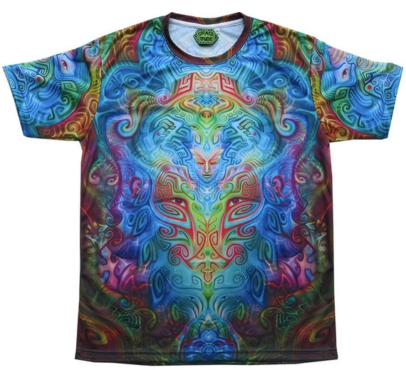 Psychedelic T-shirt 'Micro Macro UV'. All over sublimation print. Trippy T-shirt, UV active, rave, trancewear, festival wear, visionary art