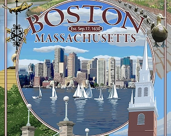 Boston, Massachusetts - Montage (Art Prints available in multiple sizes)