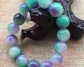 190 mm/7.5 in-Certified Natural Multi-Color Icy Emerald Jade Beads Stretchy Bracelet 《Grade A》