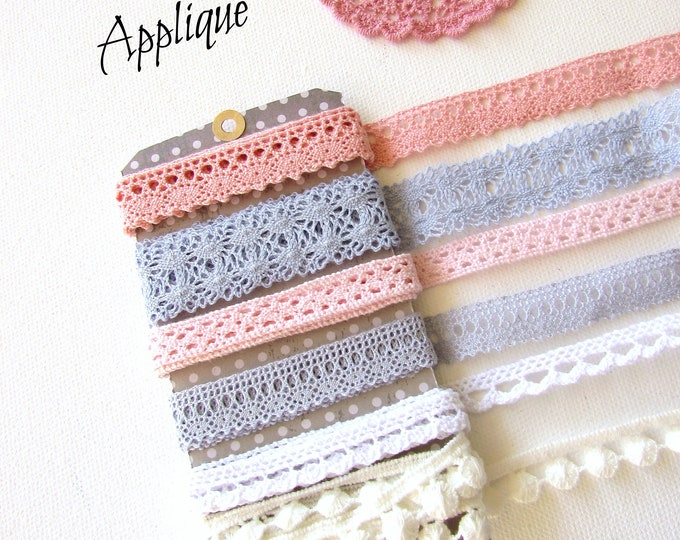 6 yds Crochet ribbon remnants  Cotton lace trims  Crochet cotton lace snippets Mixed lace gift set  Mixed lace snippets