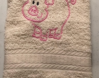 Embroidered ~PIG PIGLET~ Kitchen Bath Hand Towel