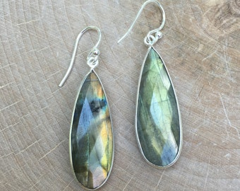 Labradorite Drop Earrings- Sterling Silver Labradorite Earrings-Silver Bridesmaid Earrings- Bridal Earrings