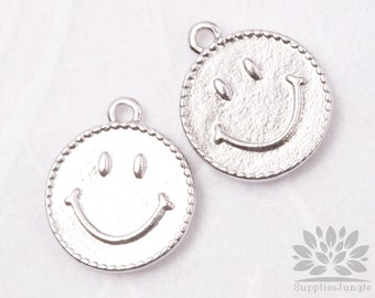 P437-01-MR// Matt Original Rhodium Plated Smile Oval Pendant, 4pcs