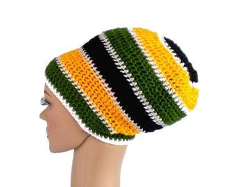 Rasta crown, jamaica hat, dreadlock hat, slouchy rasta beanie with stripes