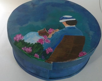 Lady In The Garden Hand Painted Re Purposed Wood Cheese Box . Uses: Gift Box, Storage, Organization, and Decor.