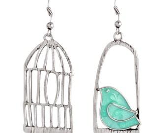 Lulu AZ Blue Bird Whimsical Asymmetrical Silver Tone Bird Cage Earrings NEW