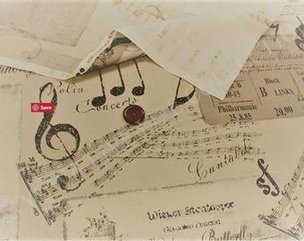 Music Fabric, Nostalgic Harmony, Yuwa Fabric -  by Suzuko Koseki 826215 F Cream -  Priced by the 1/2 yard