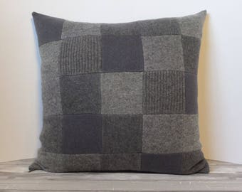 """Recycled wool sweater slipcover for 18"""" cushion -- medium grey"""