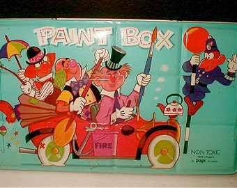 Metal Water Color Paint Box  Clowns in a Car Childrens Color Collection Vintage 1960s Page of London Paint Tin