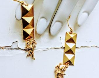 Ariana Brass Studded Cupid Dangle Earrings