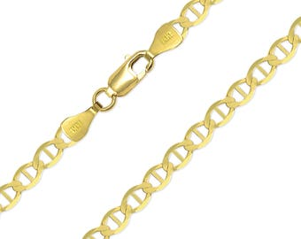 "14K Solid Yellow Gold Mariner Necklace Chain 6.5mm 20-26"" - Anchor Link"