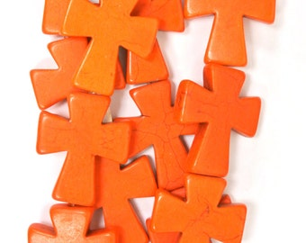 "Orange Cross Beads, Large Crosses, 35x30mm Magnesite Crosses, Orange Howlite Crosses, 16"" Strand, 11 PCS, Cross Jewelry, Wholesale Beads"