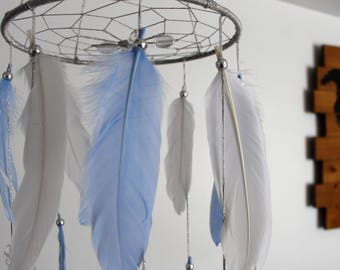 Baby blue white silver nursery mobile, Dream catcher mobile,Nursery mobile, Dream catcher wall hanging