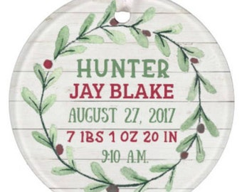 Baby Ornament, Baby's 1st Christmas Ornament, Personalized Baby Ornament, Baby Boy Ornament, Boy Christmas Ornament, Baby Christmas Ornament